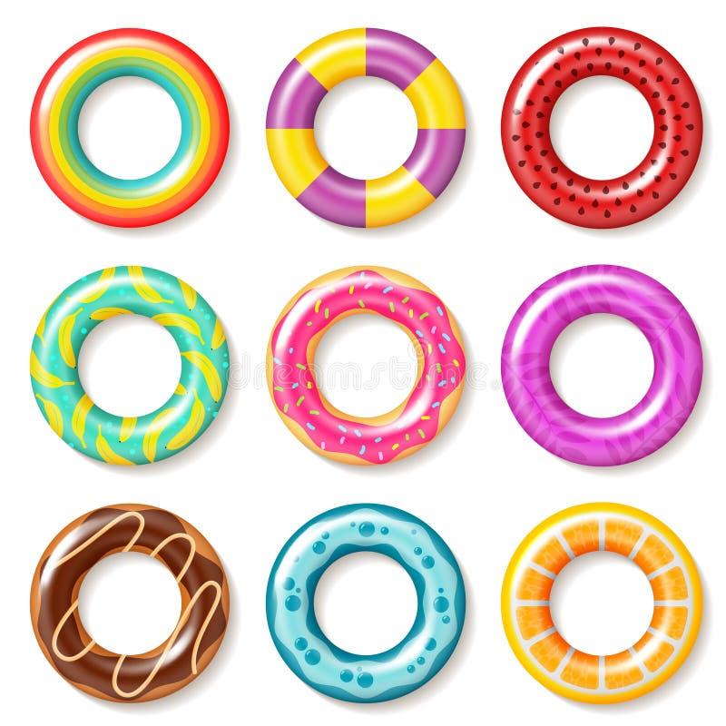 Κολυμπήστε τα δαχτυλίδια Τα κολυμπώντας παιδιά λιμνών σημαντήρων δαχτυλιδιών ζωηρόχρωμα επιπλέουν inflatables το καλοκαίρι παιδιώ ελεύθερη απεικόνιση δικαιώματος
