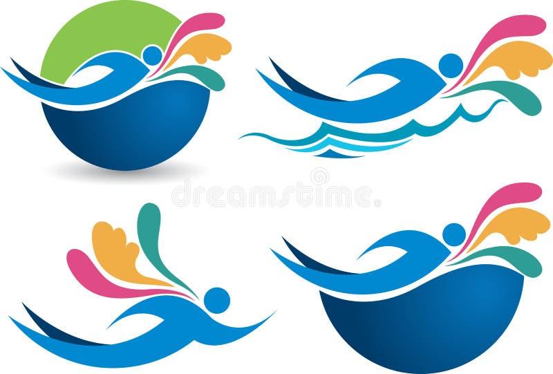 Κολυμπώντας λογότυπα συλλογής διανυσματική απεικόνιση
