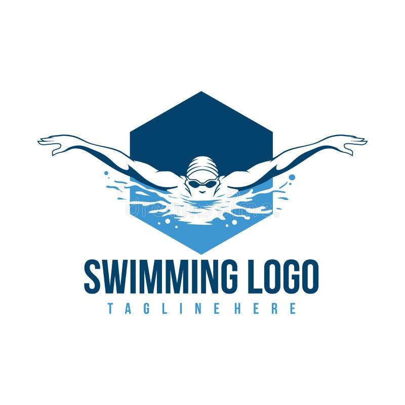 Κολυμπώντας λογότυπο Εικονίδιο κολυμβητών με τον τίτλο ελεύθερη απεικόνιση δικαιώματος