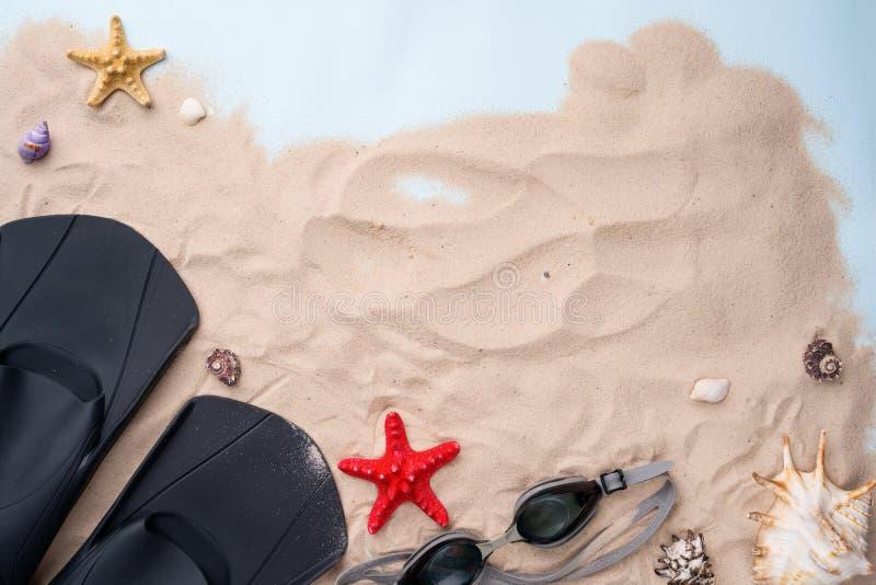 Κολυμπώντας προστατευτικά δίοπτρα και βατραχοπέδιλα στην άμμο με τα κοχύλια και τους αστερίες στοκ εικόνα