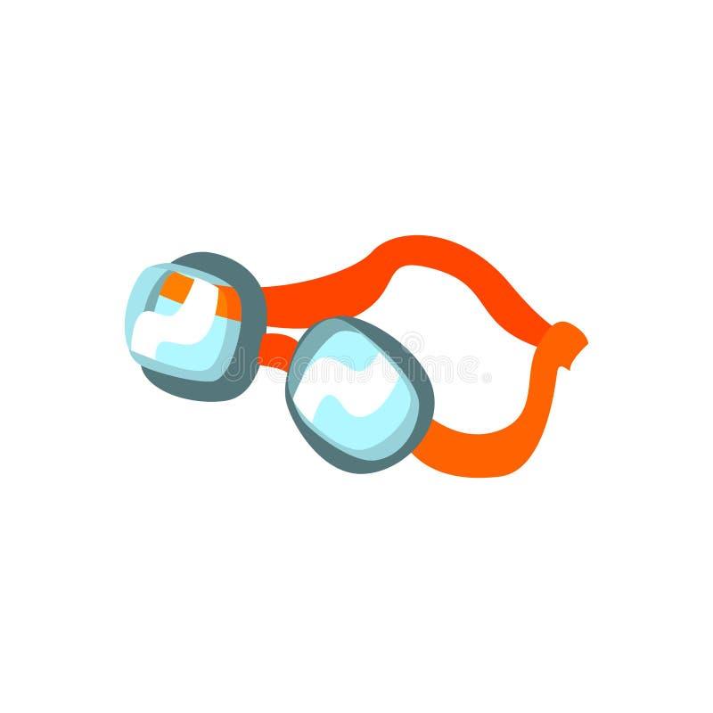 Κολυμπώντας προστατευτικά δίοπτρα κινούμενων σχεδίων με την πορτοκαλιά αγκράφα απεικόνιση αποθεμάτων