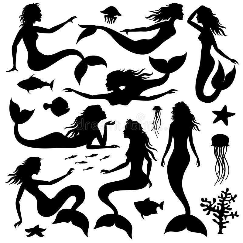 Κολυμπώντας υποβρύχιες μαύρες διανυσματικές σκιαγραφίες γοργόνων ελεύθερη απεικόνιση δικαιώματος