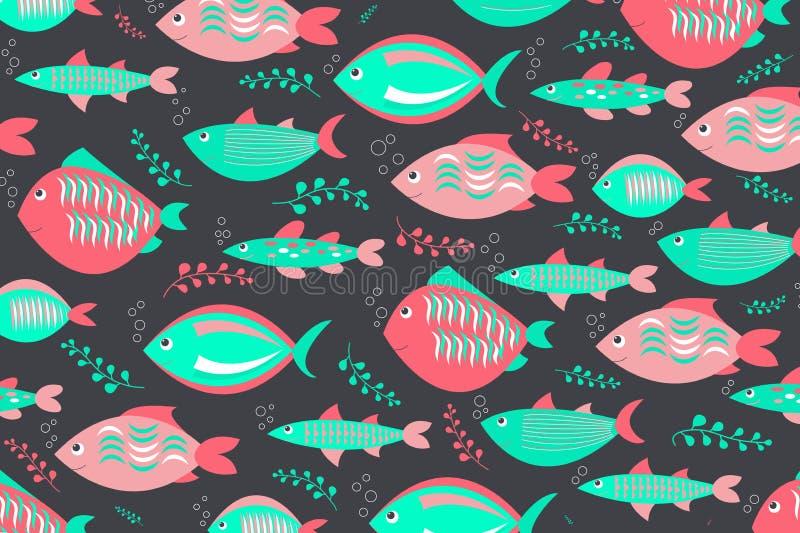 Κολυμπώντας χαριτωμένο σχέδιο ψαριών απεικόνιση αποθεμάτων