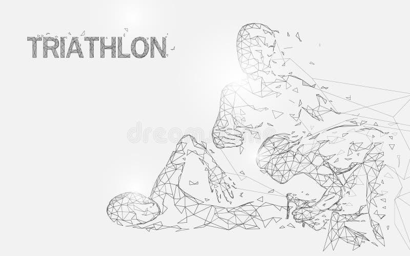 Κολύμβηση, ανακύκλωση και τρέξιμο στις γραμμές μορφής παιχνιδιών triathlon, τα τρίγωνα και το σχέδιο ύφους μορίων ελεύθερη απεικόνιση δικαιώματος