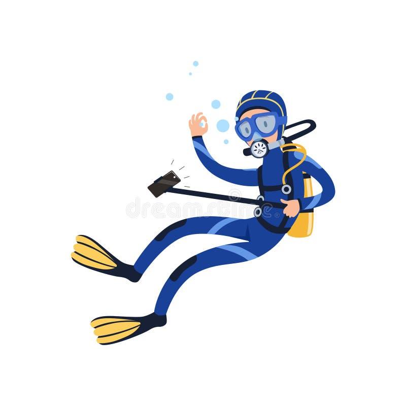 Κολύμβηση δυτών υποβρύχια και λήψη selfie χρησιμοποιώντας τη κάμερα ελεύθερη απεικόνιση δικαιώματος