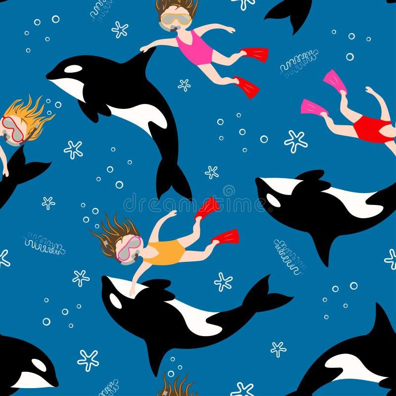 Κολύμβηση κοριτσιών κατάδυσης σκαφάνδρων σχεδίων απεικόνιση αποθεμάτων