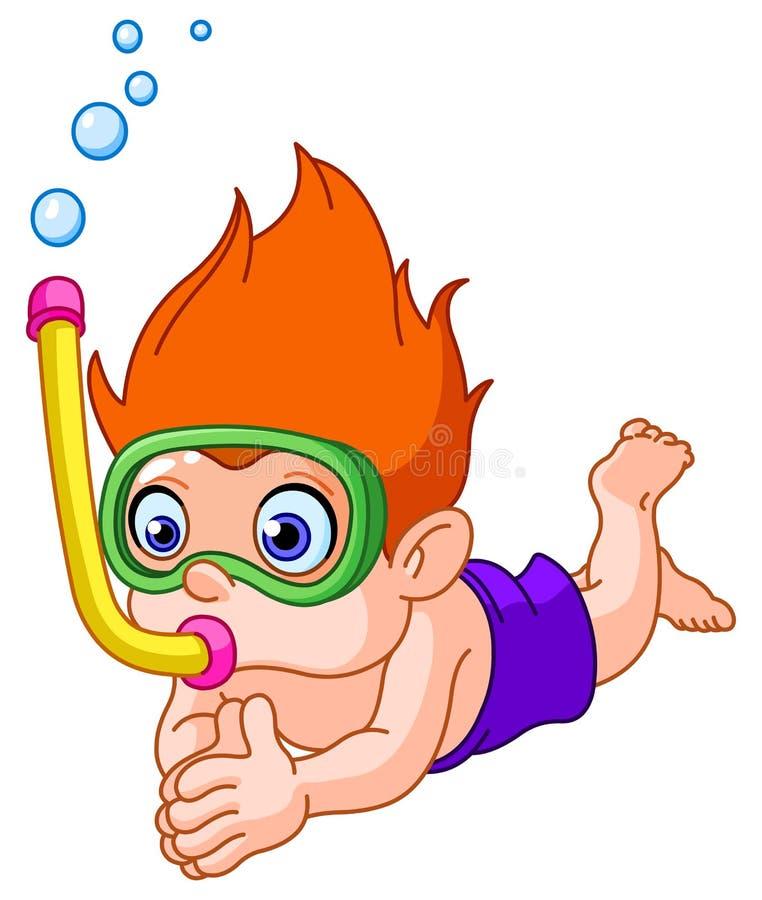 κολύμβηση με αναπνευστήρα κατσικιών απεικόνιση αποθεμάτων