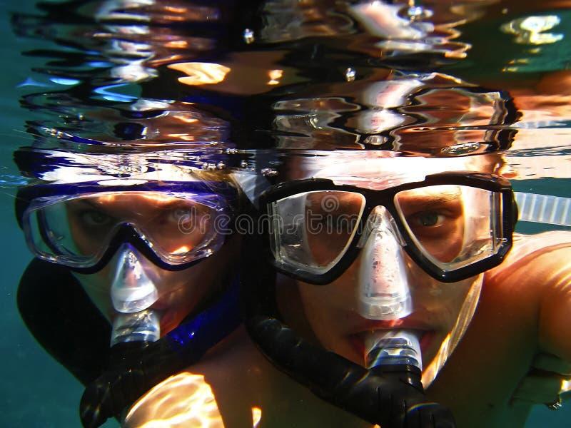κολύμβηση με αναπνευστήρ στοκ εικόνες