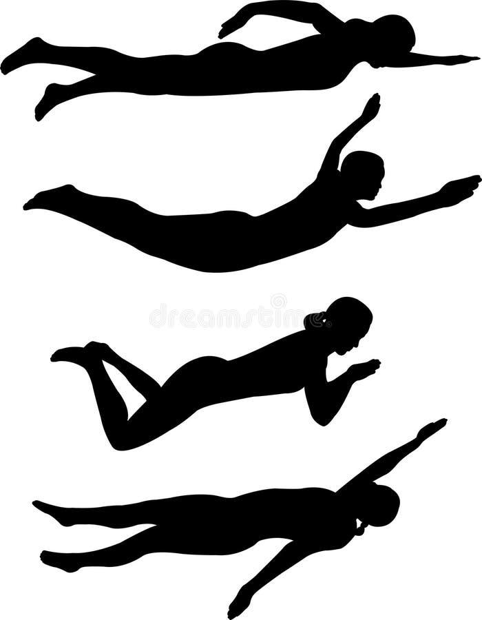 κολύμβηση μορφών διανυσματική απεικόνιση