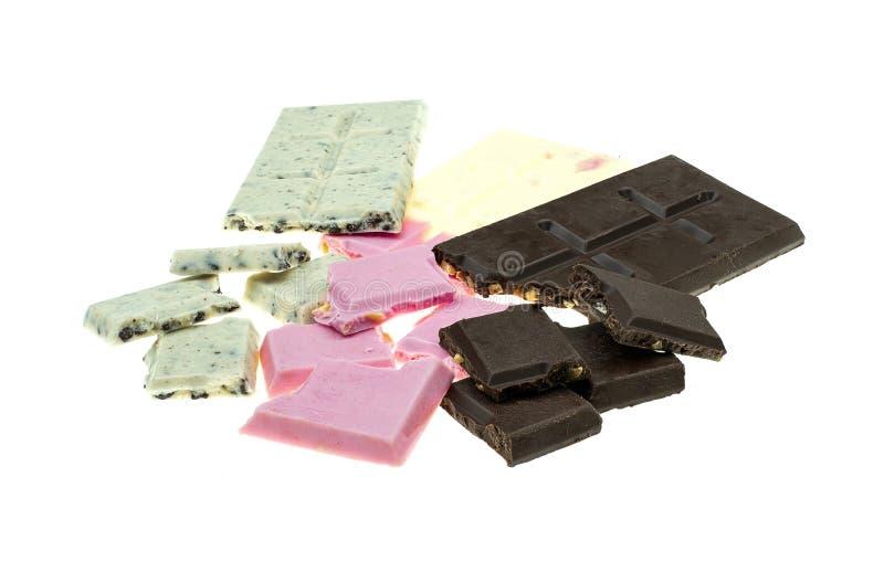 Κομμάτια και φραγμός σοκολάτας στοκ εικόνα με δικαίωμα ελεύθερης χρήσης