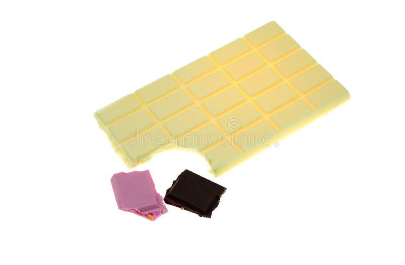 Κομμάτια και φραγμός σοκολάτας στοκ φωτογραφία