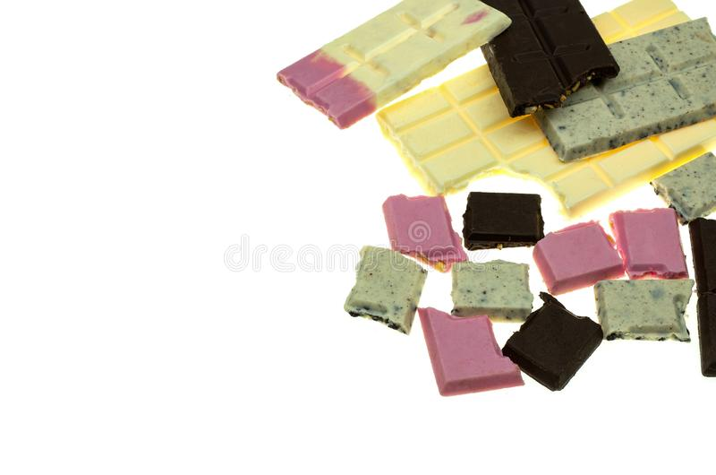 Κομμάτια και φραγμός σοκολάτας στοκ εικόνες