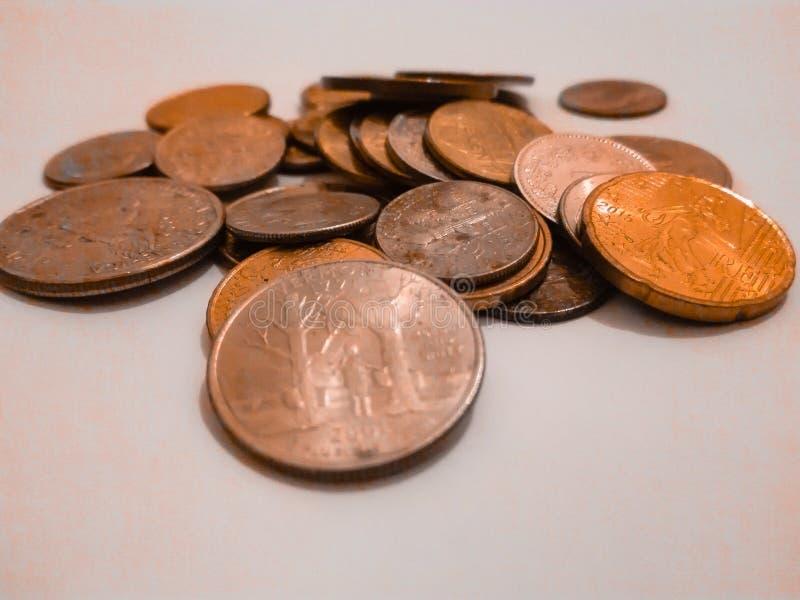 Κομμάτια μετάλλων χρημάτων στοκ εικόνα