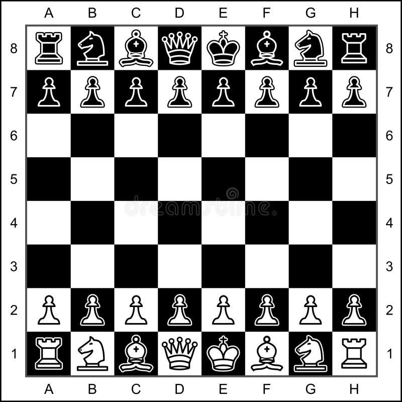 Κομμάτια σκακιού στη σκακιέρα διανυσματική απεικόνιση