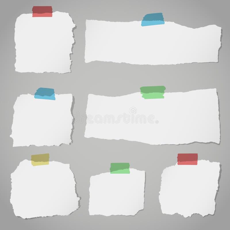 Κομμάτια του σχισμένου άσπρου κενού χαρτί σημειώσεων με τη ζωηρόχρωμη κολλώδη ταινία στο γκρίζο υπόβαθρο διανυσματική απεικόνιση
