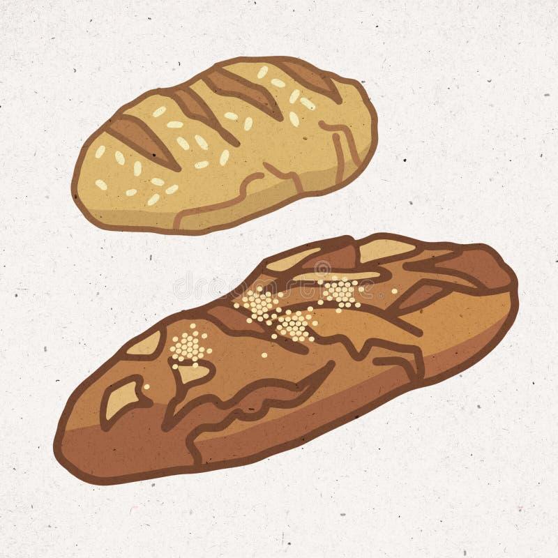 Κομμάτια του υγιούς ψωμιού ελεύθερη απεικόνιση δικαιώματος
