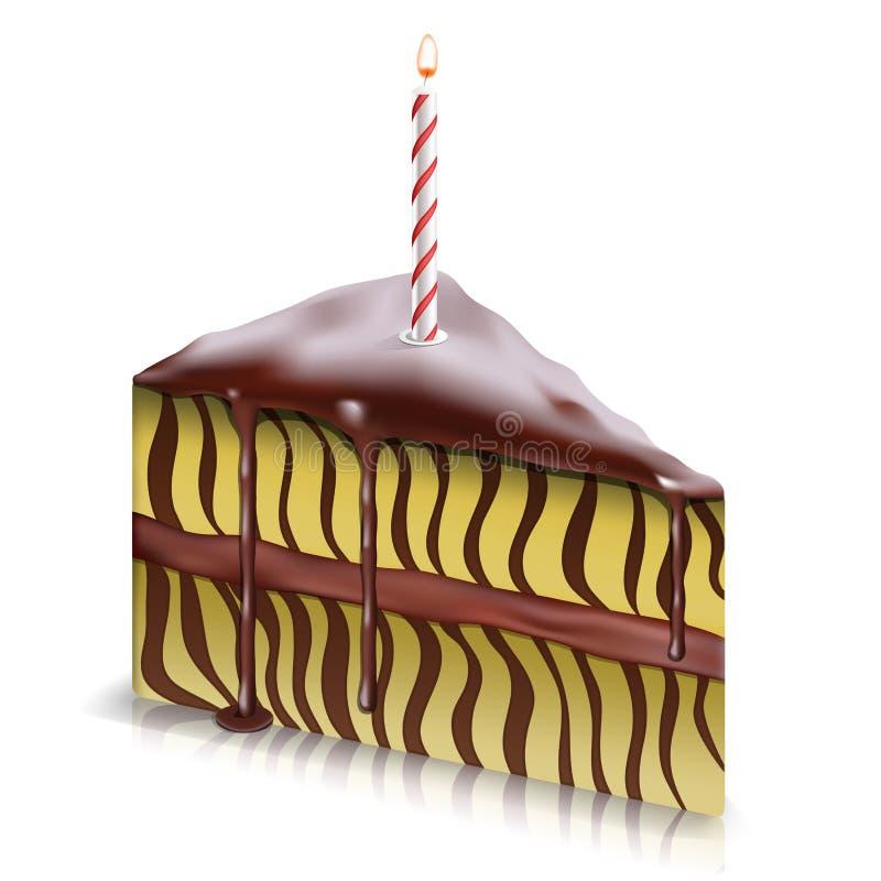 κομμάτι κεριών κέικ διανυσματική απεικόνιση