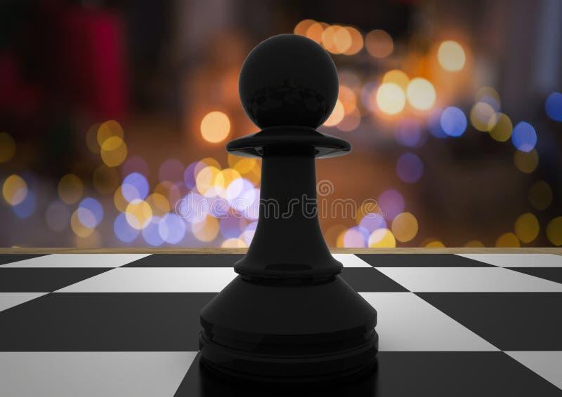 Κομμάτι σκακιού ενάντια στη νύχτα bokeh ελεύθερη απεικόνιση δικαιώματος