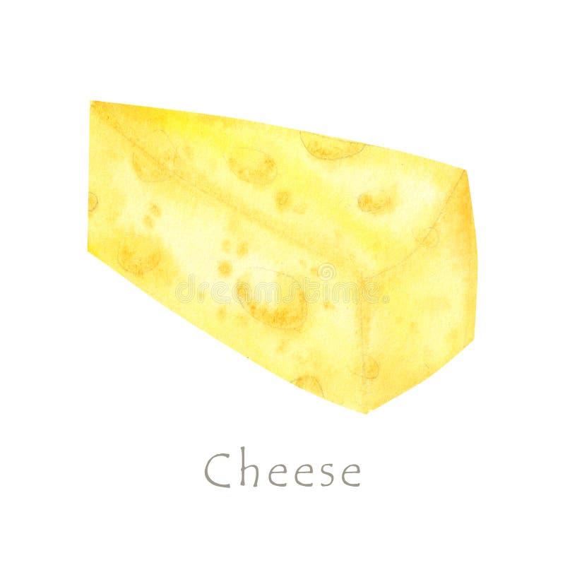 Κομμάτι σχεδίων Watercolor του τριγωνικού κίτρινου τυριού Αγαπημένα τρόφιμα ποντικιών Απεικόνιση στο άσπρο υπόβαθρο στοκ φωτογραφίες