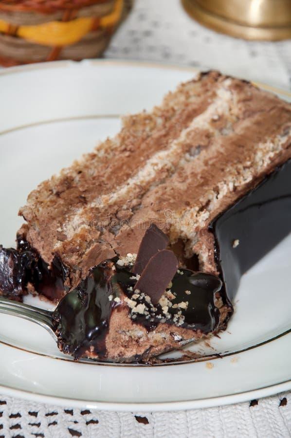 Κομμάτι του κέικ σοκολάτας στη ρηχή εστίαση σε ένα πιάτο στοκ εικόνες