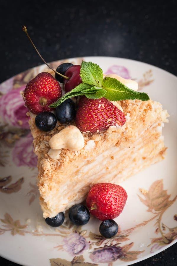 Κομμάτι του κέικ napoleon στοκ φωτογραφία με δικαίωμα ελεύθερης χρήσης