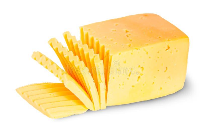 Κομμάτι του τεμαχισμένου τυριού στοκ εικόνες