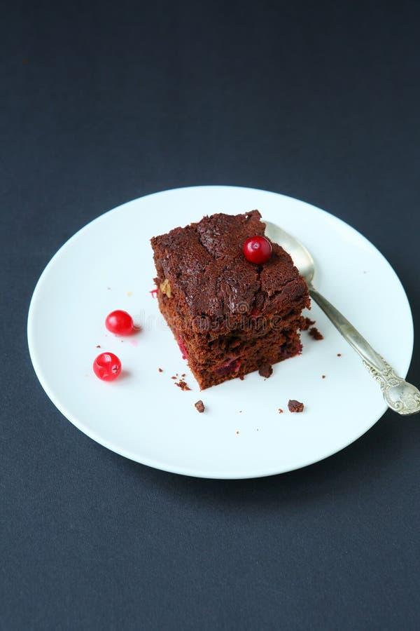 Κομμάτι των brownies με τα τα βακκίνια στοκ εικόνες