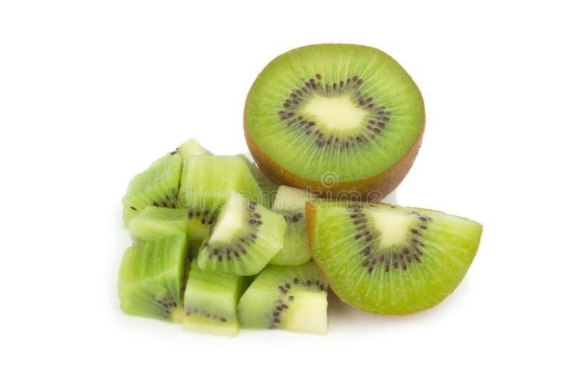 Κομμάτι φρούτων ακτινίδιων φέτα μισός η ανασκόπηση απομόνωσε το λευκό στοκ φωτογραφίες με δικαίωμα ελεύθερης χρήσης