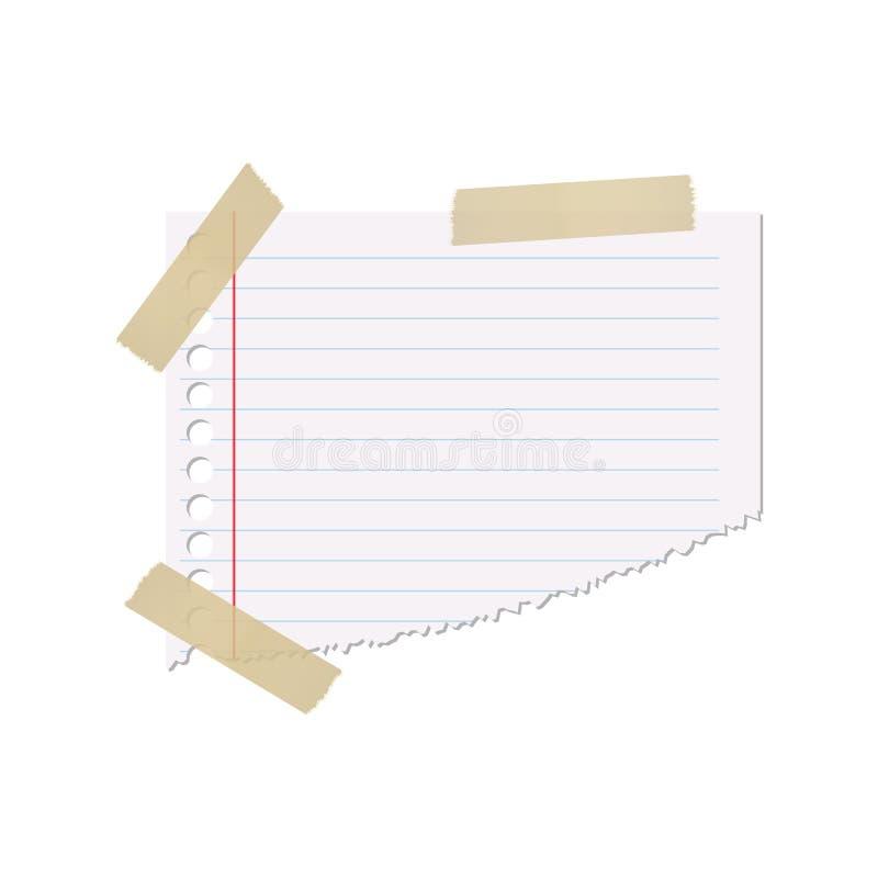 Κομμάτι χαρτί σε έναν κυβερνήτη σε ένα απομονωμένο άσπρο υπόβαθρο με μια κολλώδη ταινία Διανυσματικό στοιχείο για το σχέδιό σας απεικόνιση αποθεμάτων