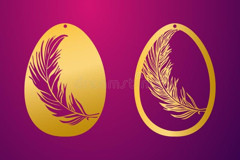 Κομμένο λέιζερ ευτυχές αυγό Πάσχας Διανυσματικό αυγό Πάσχας διάτρητων διακοσμητικό ελεύθερη απεικόνιση δικαιώματος