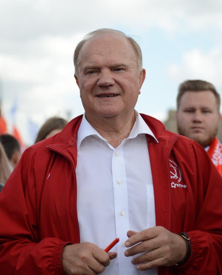 Κομμουνιστικός ηγέτης Gennady Zyuganov κόμματος στο φεστιβάλ Τύπου στη Μόσχα στοκ εικόνα