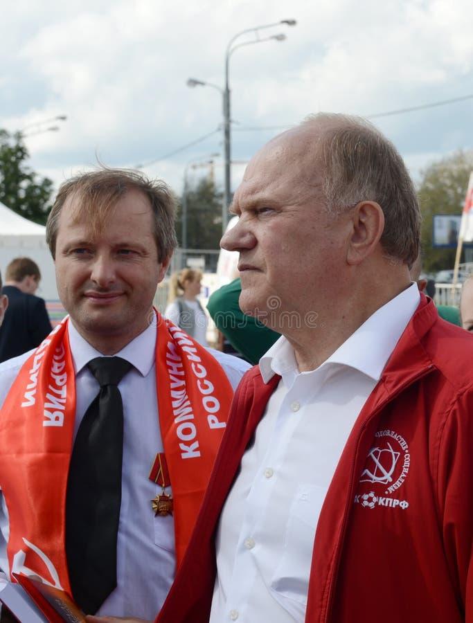 Κομμουνιστικός ηγέτης Gennady Zyuganov κόμματος στο φεστιβάλ Τύπου στη Μόσχα στοκ εικόνες