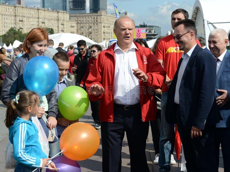 Κομμουνιστικός ηγέτης Gennady Zyuganov κόμματος στο φεστιβάλ Τύπου στη Μόσχα στοκ εικόνα με δικαίωμα ελεύθερης χρήσης