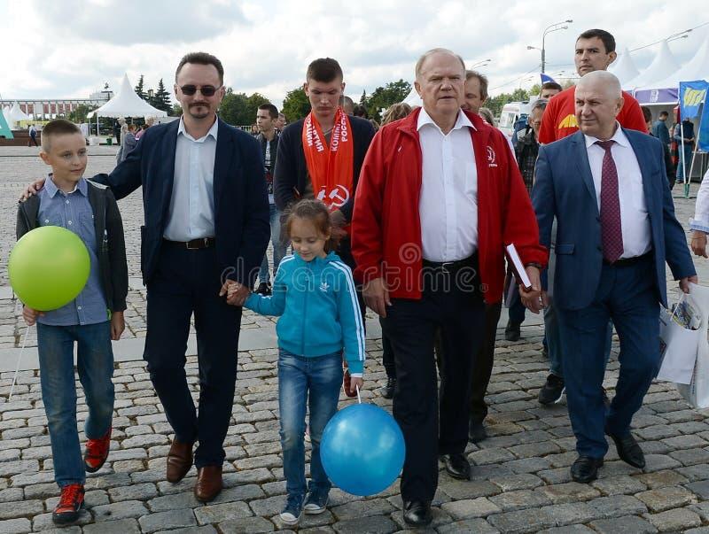 Κομμουνιστικός ηγέτης Gennady Zyuganov κόμματος στο φεστιβάλ Τύπου στη Μόσχα στοκ φωτογραφίες με δικαίωμα ελεύθερης χρήσης