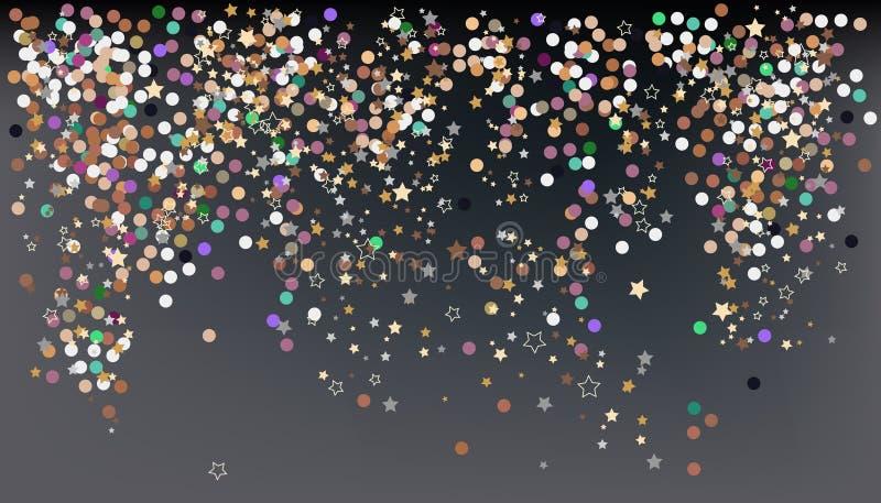 Κομφετί, εορτασμός του νέου έτους - διανυσματικό έμβλημα υποβάθρου απεικόνιση αποθεμάτων