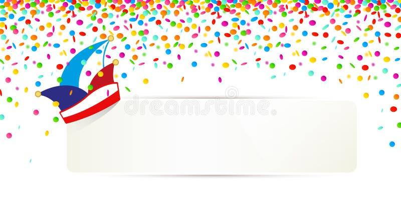 Κομφετί καρναβαλιού και παραδοσιακή ΚΑΠ με το άσπρο έμβλημα για το κείμενό σας που απομονώνονται σε ένα άσπρο υπόβαθρο ελεύθερη απεικόνιση δικαιώματος