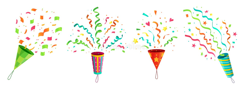 Κομφετί κόμματος popper Διάνυσμα κινούμενων σχεδίων κορδελλών poppers κομφετί εορτασμού γενεθλίων ανατίναξης και συγχαρητηρίων πε διανυσματική απεικόνιση
