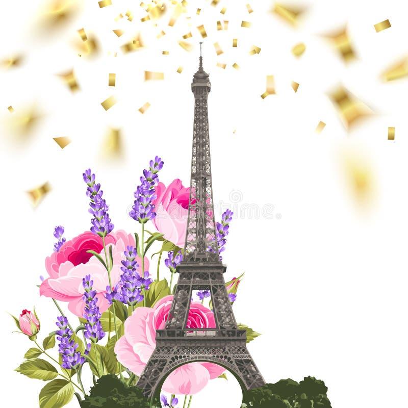 Κομφετί με τον πύργο του Άιφελ διανυσματική απεικόνιση