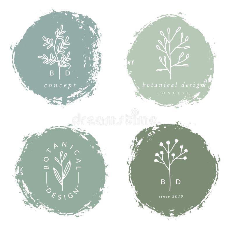 Κομψά βοτανικά πρότυπα λογότυπων σχεδίου απεικόνιση αποθεμάτων