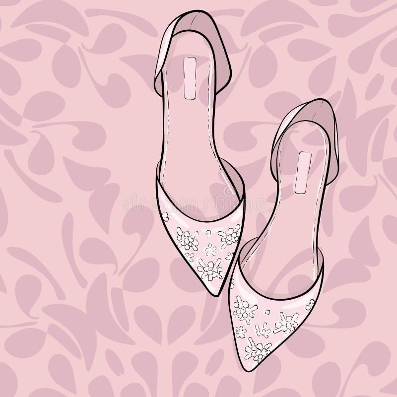 Κομψά παπούτσια μόδας, σανδάλια, επίπεδα Διανυσματική απεικόνιση για τις γαμήλιες κάρτες, πρόσκληση, ελεύθερη απεικόνιση δικαιώματος