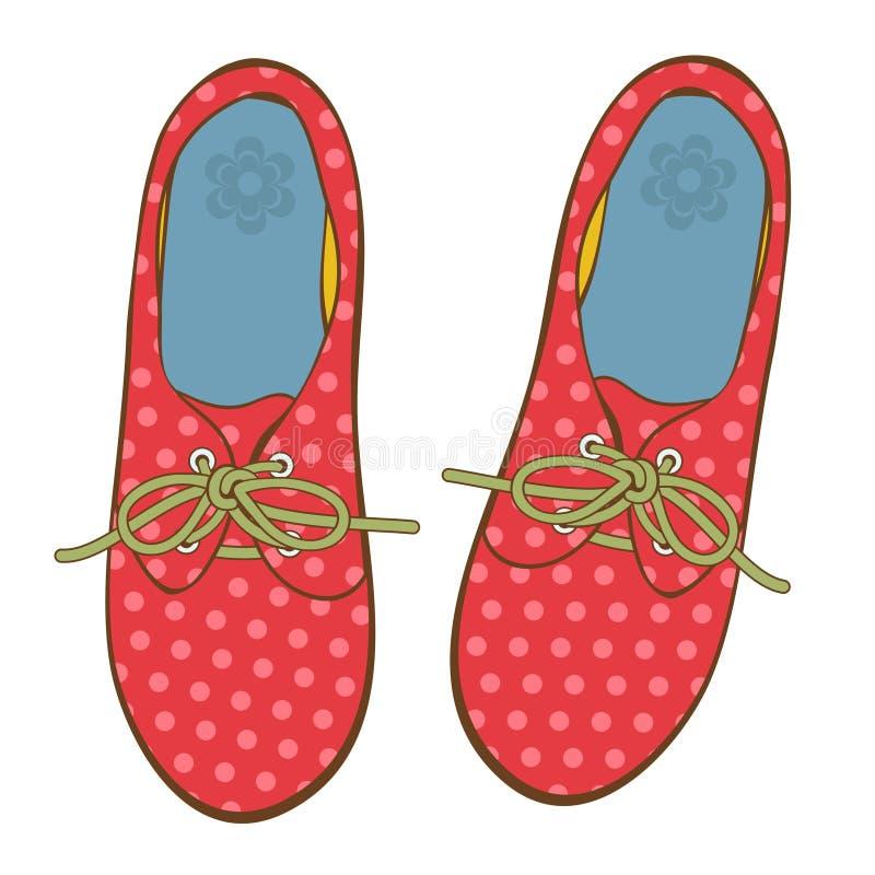 Κομψά παπούτσια σημείων Πόλκα διανυσματική απεικόνιση