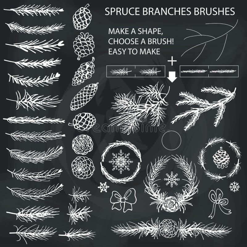 Κομψές βούρτσες κλάδων, κώνοι πεύκων, σκιαγραφία τόξων chalkboard ελεύθερη απεικόνιση δικαιώματος