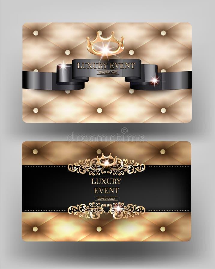 Κομψές εκλεκτής ποιότητας κάρτες γεγονότος πολυτέλειας με το χρυσό δέρμα στο υπόβαθρο απεικόνιση αποθεμάτων