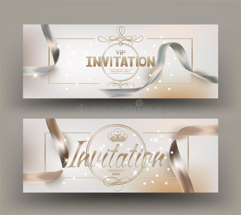 Κομψές μπεζ κάρτες πρόσκλησης με τις όμορφες κορδέλλες και τα εκλεκτής ποιότητας στοιχεία deco διανυσματική απεικόνιση