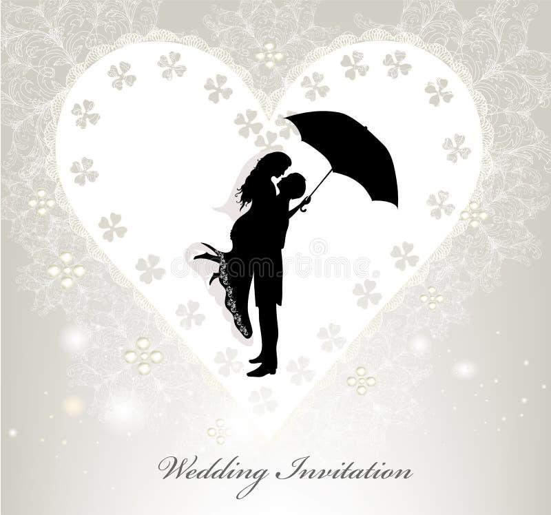 Κομψή γαμήλια πρόσκληση με τη διανυσματική σκιαγραφία ελεύθερη απεικόνιση δικαιώματος