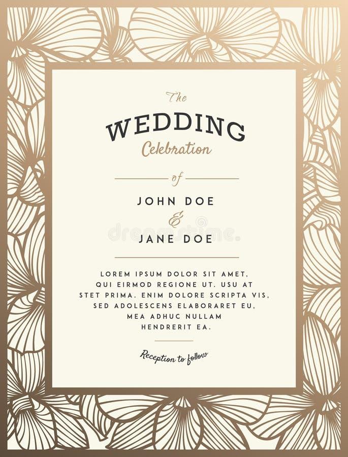 Κομψή γαμήλια πρόσκληση με τα λουλούδια ορχιδεών ελεύθερη απεικόνιση δικαιώματος