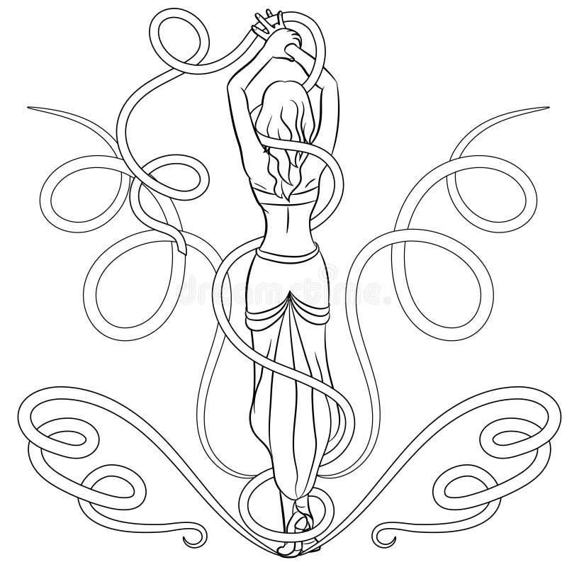 Κομψή γυναίκα με το τέλειο σώμα Απομονωμένος στην άσπρη ανασκόπηση διανυσματική απεικόνιση