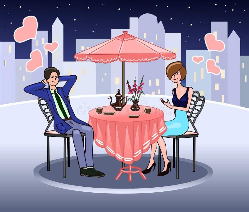 Κομψή γυναίκα σε έναν θερινό καφέ επίσης η στοά ημερομηνίας ρομαντικός μου βλέπει την παρόμοια εργασία Αμοιβαία συναισθήματα αγάπ ελεύθερη απεικόνιση δικαιώματος
