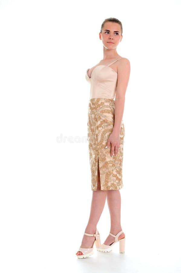 Κομψή γυναίκα στη μοντέρνη μοντέρνη τοποθέτηση φορεμάτων στο στούντιο στοκ εικόνα