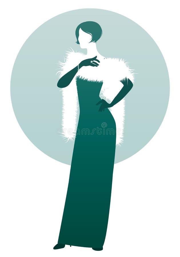 Κομψή γυναικεία σκιαγραφία, που φορά το μακριά φόρεμα βραδιού, την εσάρπα και τα γάντια, που απομονώνονται στο άσπρο και πράσινο  διανυσματική απεικόνιση
